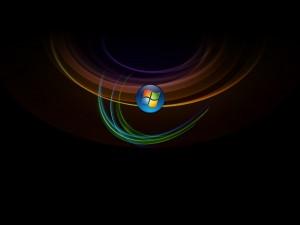 Postal: Logo de Windows sobre líneas de colores