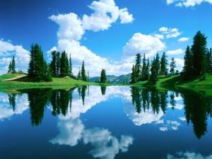 Postal: Lago con el reflejo de nubes y pinos