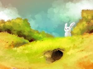 Postal: Pintura de un conejito y su guarida
