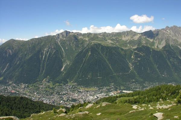 Población en el valle de Chamonix (Francia)