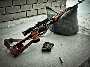 Arma apoyada en un cojín