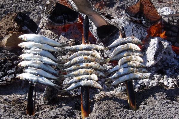 Espetos de sardinas asándose lentamente