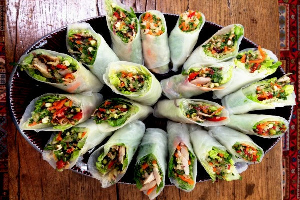Rollitos de arroz con verduras