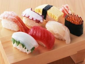 Postal: Shusi con varios pescados
