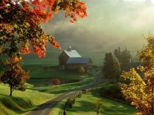 Postal: Camino hacia la granja
