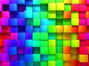 Postal: Cubos de varios colores