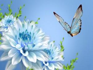 Postal: Mariposa volando sobre una flor