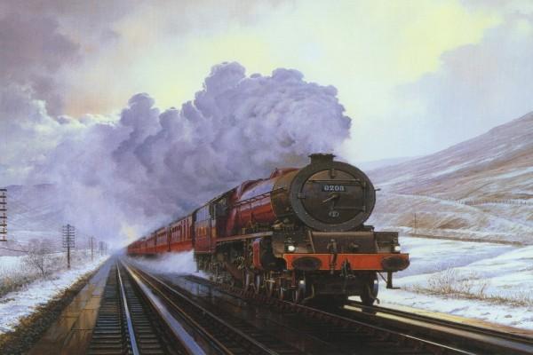 Pintura de una locomotora atravesando montañas con nieve