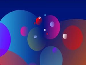 Postal: Círculos de varios colores y tamaños