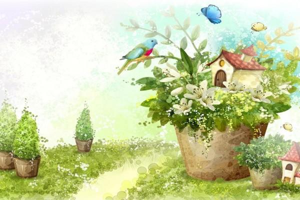 Casa entre las flores de la maceta