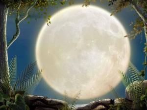 Postal: Brillante luna llena