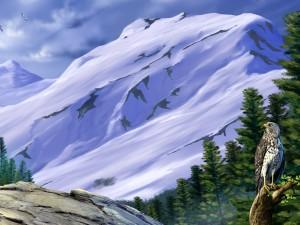 Águilas en las frías montañas