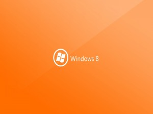 Windows 8 en fondo naranja