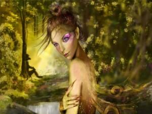 Hada en el bosque junto al río