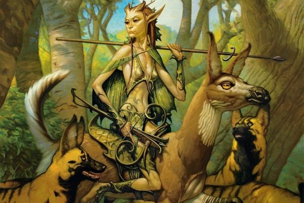 Guerrera del bosque  en compañía de animales