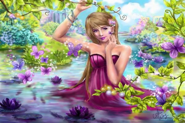 Mujer en el agua del río rodeada de flores y mariposas
