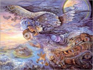 Un hada viajando por el cielo