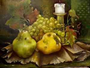Postal: Bodegón de frutas