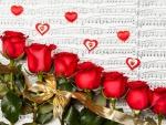 Rosas y corazones sobre un pentagrama