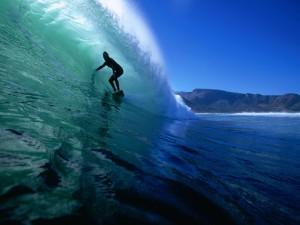 Postal: Surfista dentro de la ola