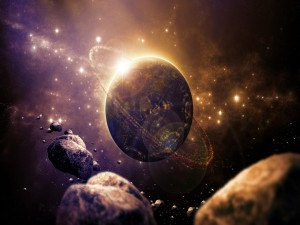 Postal: Meteoritos junto al planeta