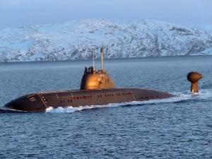 Postal: Submarino en agua helada
