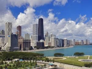 La ciudad de Chicago y el lago Míchigan