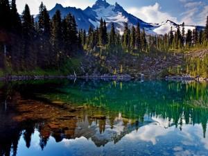Lago poco profundo junto a las montañas