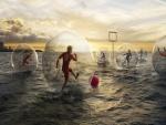 Partido de fútbol sobre el agua