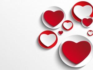 Postal: Corazones y círculos rojos y blancos