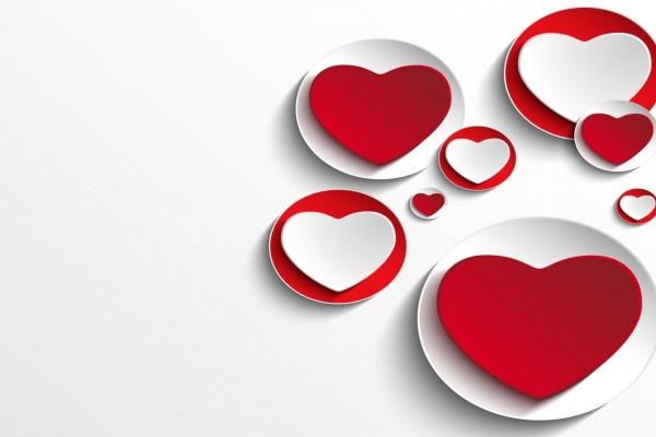 Corazones y círculos rojos y blancos