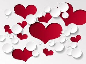 Diseño romántico con corazones y círculos
