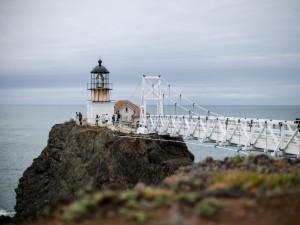 Postal: Puente para llegar al faro