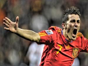 Postal: David Villa (El Guaje) jugando con la Selección Española