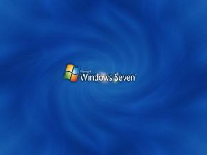 Postal: Microsoft Windows Seven, en un fondo azul