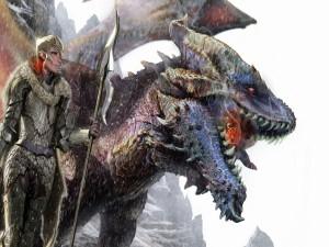 Un gran dragón y una guerrera