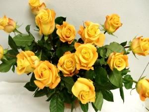 Postal: Ramo de rosas amarillas