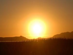 Postal: Un precioso paisaje con el gran sol de fondo