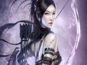 Postal: Guapa guerrera con su arco y flechas