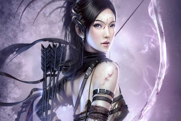 Guapa guerrera con su arco y flechas