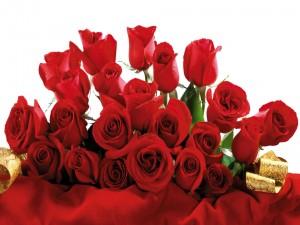 Ramo de rosas rojas con una cinta dorada
