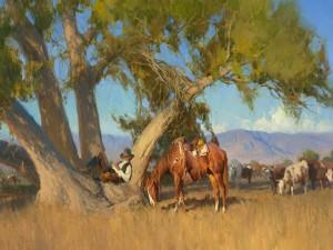 Postal: Pintura de un vaquero descansando en un árbol