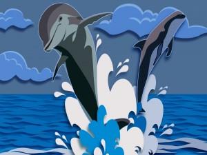 Dibujo de delfines saltando en el mar