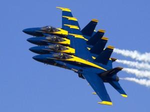 """Postal: Desfile de aviones """"Blue Angels"""""""