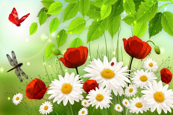 Flores e insectos en primavera