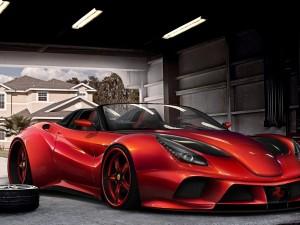 Postal: Un Ferrari F12 Berlinetta rojo en el garage