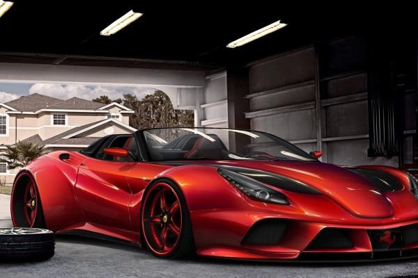 Un Ferrari F12 Berlinetta rojo en el garage