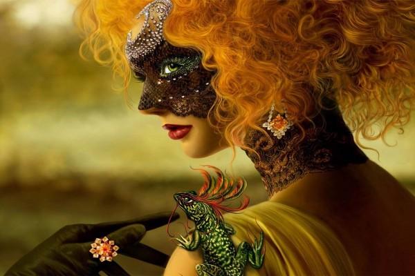 Mujer con máscara veneciana