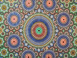 Postal: Patrón geométrico islámico en el Museo de Marrakech, Marruecos