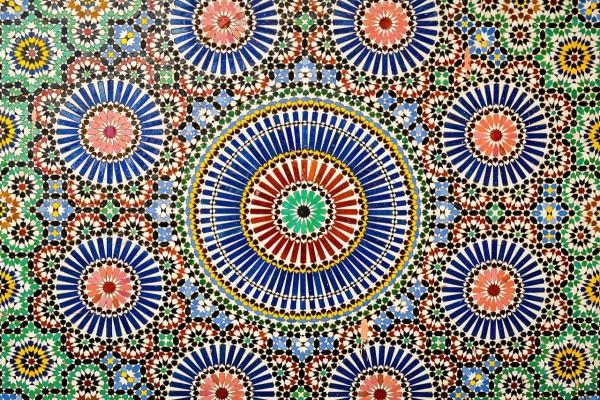 Patrón geométrico islámico en el Museo de Marrakech, Marruecos